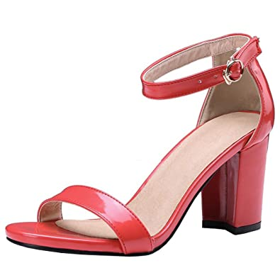 acc2faae74b94a Artfaerie Damen Blockabsatz High Heels Sandalen mit Schnalle Lack Riemchen  Pumps Offen Schuhe  Amazon.de  Schuhe   Handtaschen