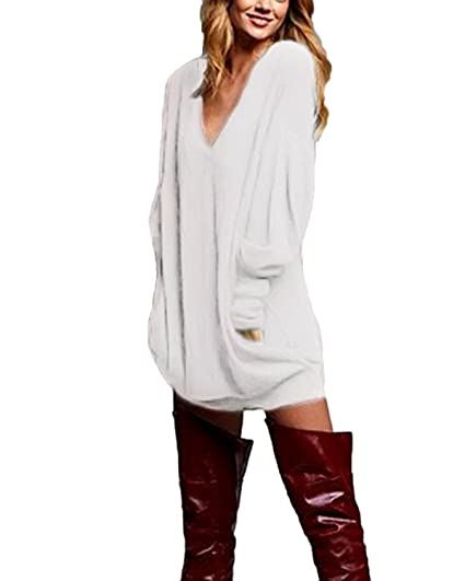 a2830232a17 Zanzea Pull Femme Hiver Grand Taille Chemises à Manches Longues Tunique  Casual Large Top Haut Sexy