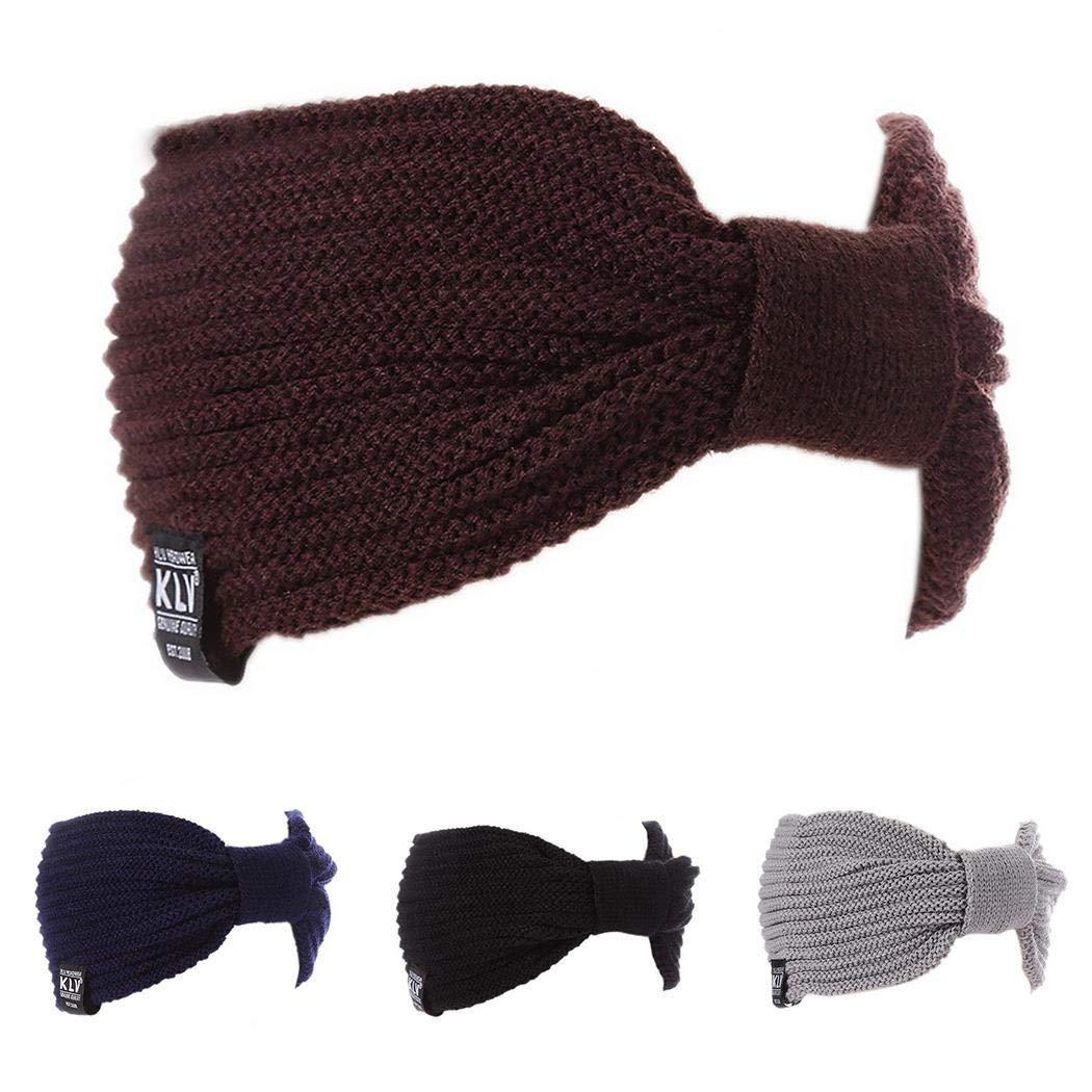 Weardear Women Fashion Casual Stripe Knitted Headband Hair Band Hair Accessori Cold Weather Headbands