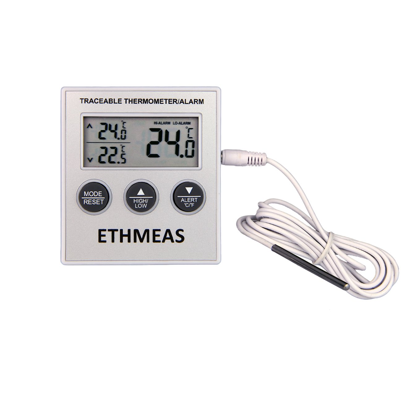 ETHMEAS Digital Refrigerator/Freezer/Fridge Thermometer Easy Readout Fridge Thermometer with Large LCD Display High Low Temperature Memory & Alarm Function