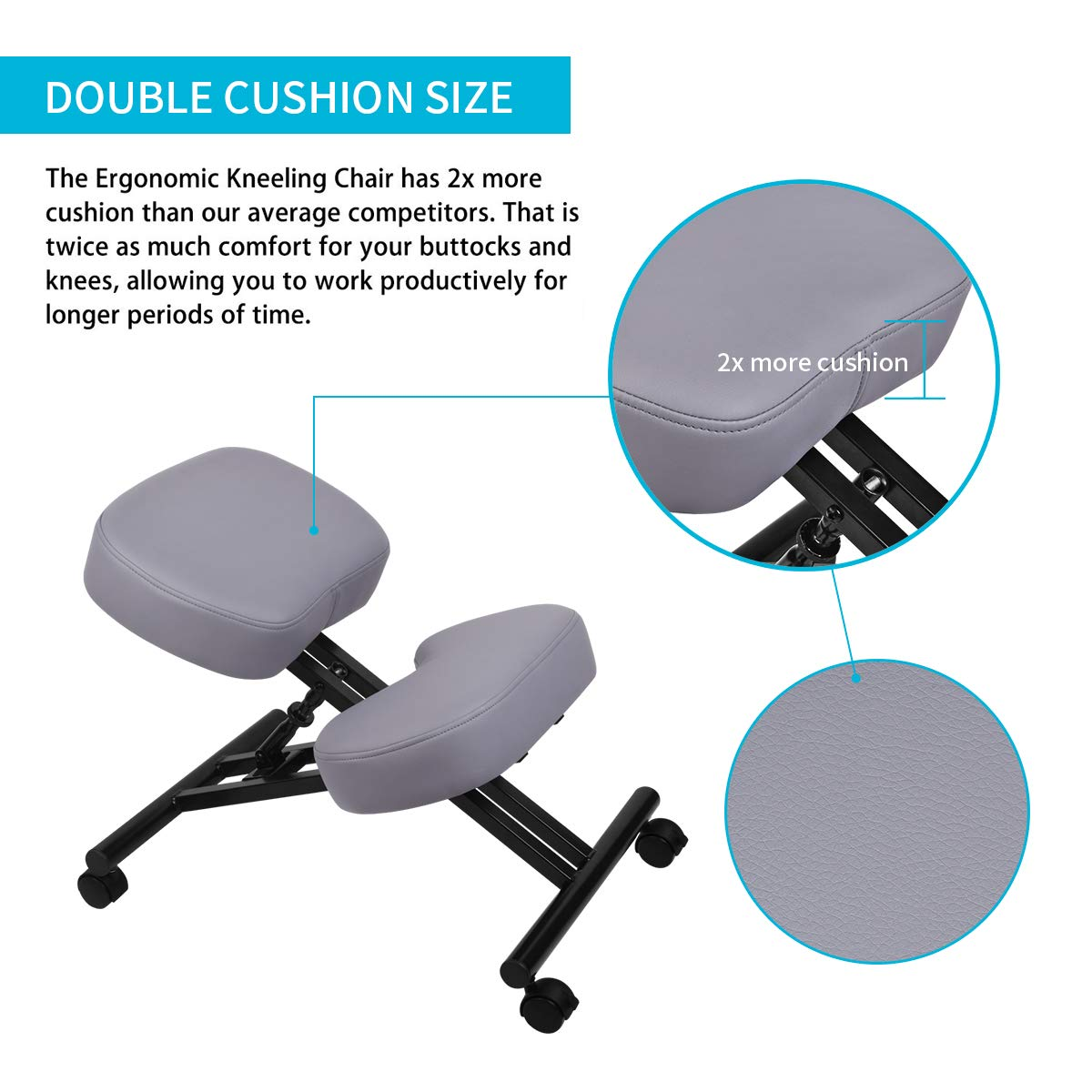 Dicke Bequeme Kissen Verbessern Sie Ihre Haltung mit einem abgewinkelten Sitz Verstellbarer Hocker f/ür Zuhause und B/üro Ergonomischer Kniestuhl