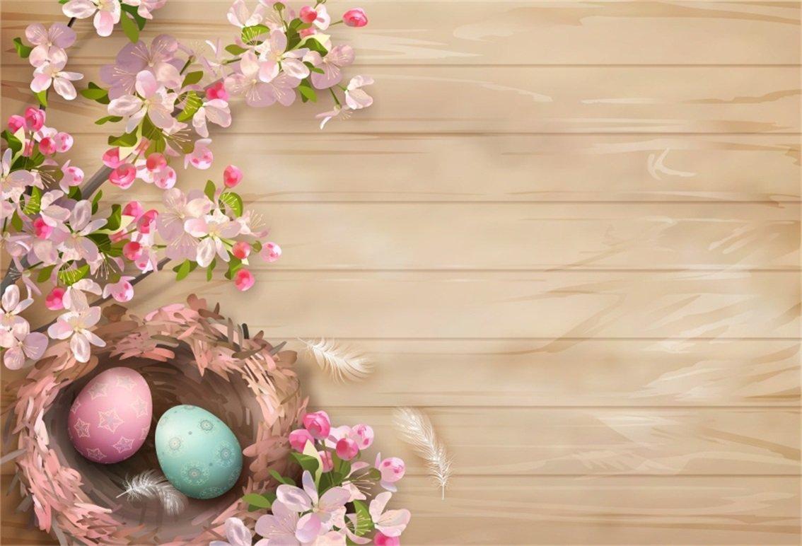 AOFOTO 5x3フィート イースターエッグ ネスト 背景 春の花 写真 背景 写真 スタジオ 小道具 子供 赤ちゃん 新生児 幼児 アーティスティック ポートレート ビニール 壁紙   B0791DPNH4