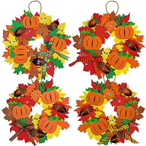 Supla 12 Kits 3D Pumpkin Fall Leaf Wreath Craft Kit DIY Thanksgiving Wreath with Maple Leaves Acorns Bows Wiggle Eyes for Kids Crafts Fall Thanksgiving Halloween Seasonal ()