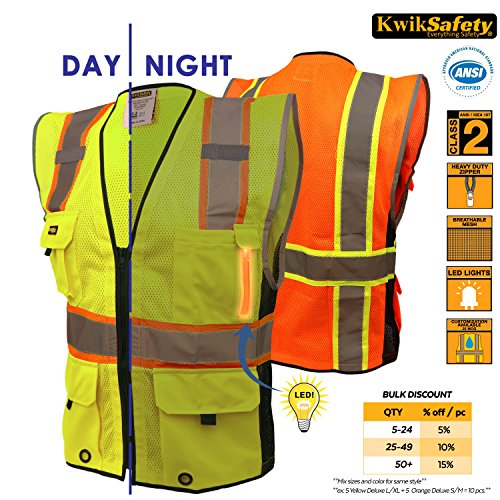 KwikSafety Class 2 LED Yellow Deluxe Safety Vest | Hi Vis...