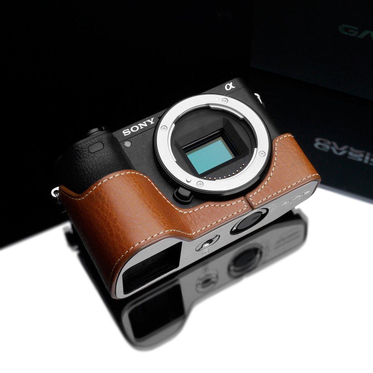 Gariz XS-CHA6500CM Genuine Leather Half Case for Sony Alpha A6500 Camel Brown