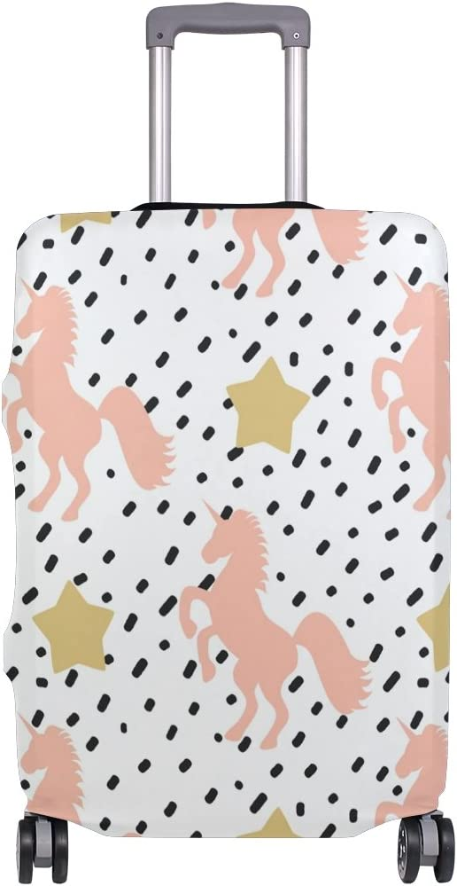 OREZI Luggage Protector Pink Unicorn And Golden Stars Travel Luggage Elastic Cover Suitcase Washable and Durable Anti-Scratch Stretchy Case Cover Fits 18-32 Inches