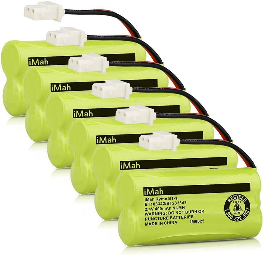 iMah BT183342/BT283342 2.4V 400mAh Ni-MH Phone Battery Pack Compatible with AT&T EL50003 EL52200 EL52500 CL80111 VTech CS6509 CS6519 CS6719 Handset Telephone, Pack of 6
