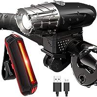 Juego de luces para bicicleta,Luz Bicicleta Recargable USB,Lámparas delantera,Trasera iluminacion,Lámpara de bicicleta de 300 lúmenes recargable mediante USB,Lámparas delanteras y traseras,Linterna de seguridad a prueba de agua para ciclismo, cámping, senderismo (Trasera iluminacion incluir)