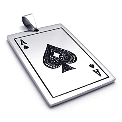 Temego jewelry mens stainless steel pendant vintage ace of spades temego jewelry mens stainless steel pendant vintage ace of spades card poker necklace black silver aloadofball Image collections