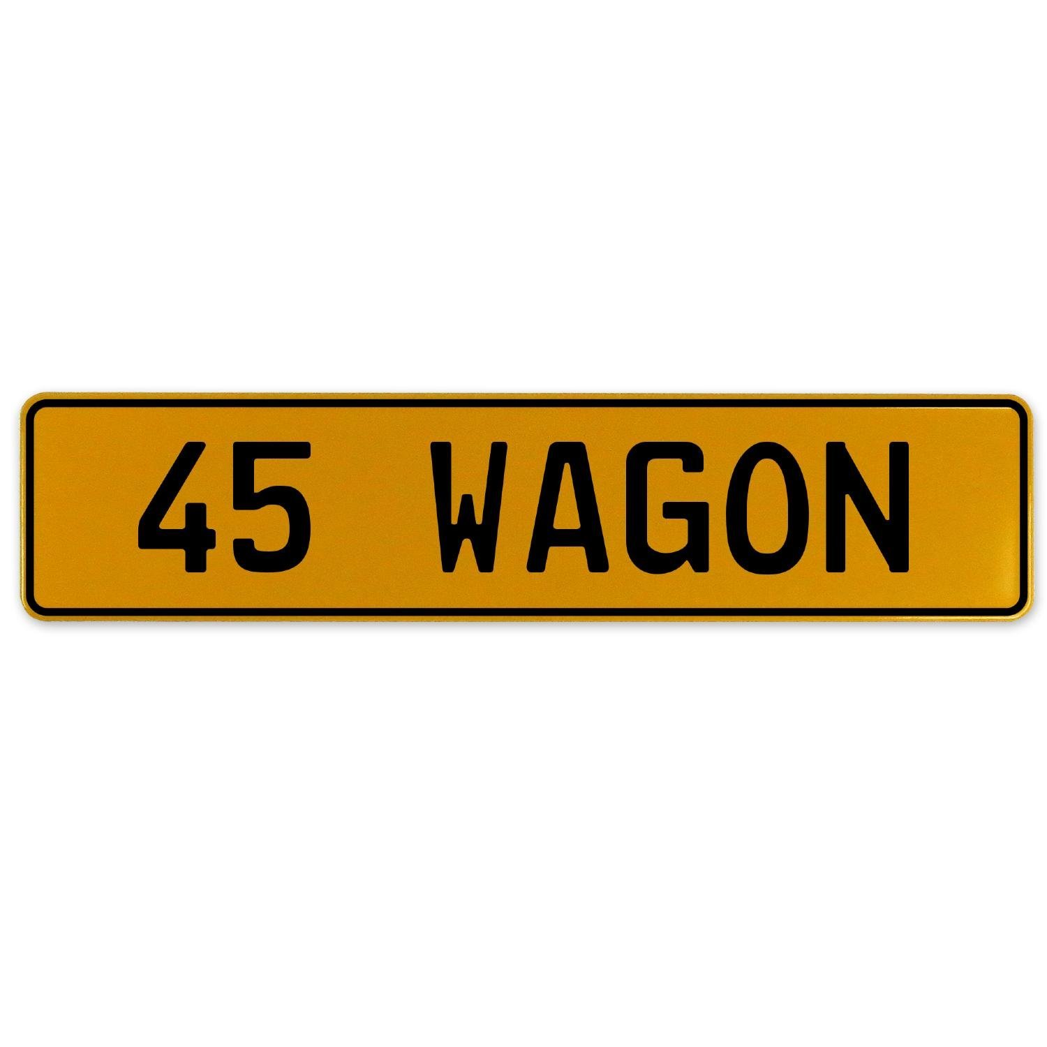 Vintage Parts 563256 45 Wagon Yellow Stamped Aluminum European Plate