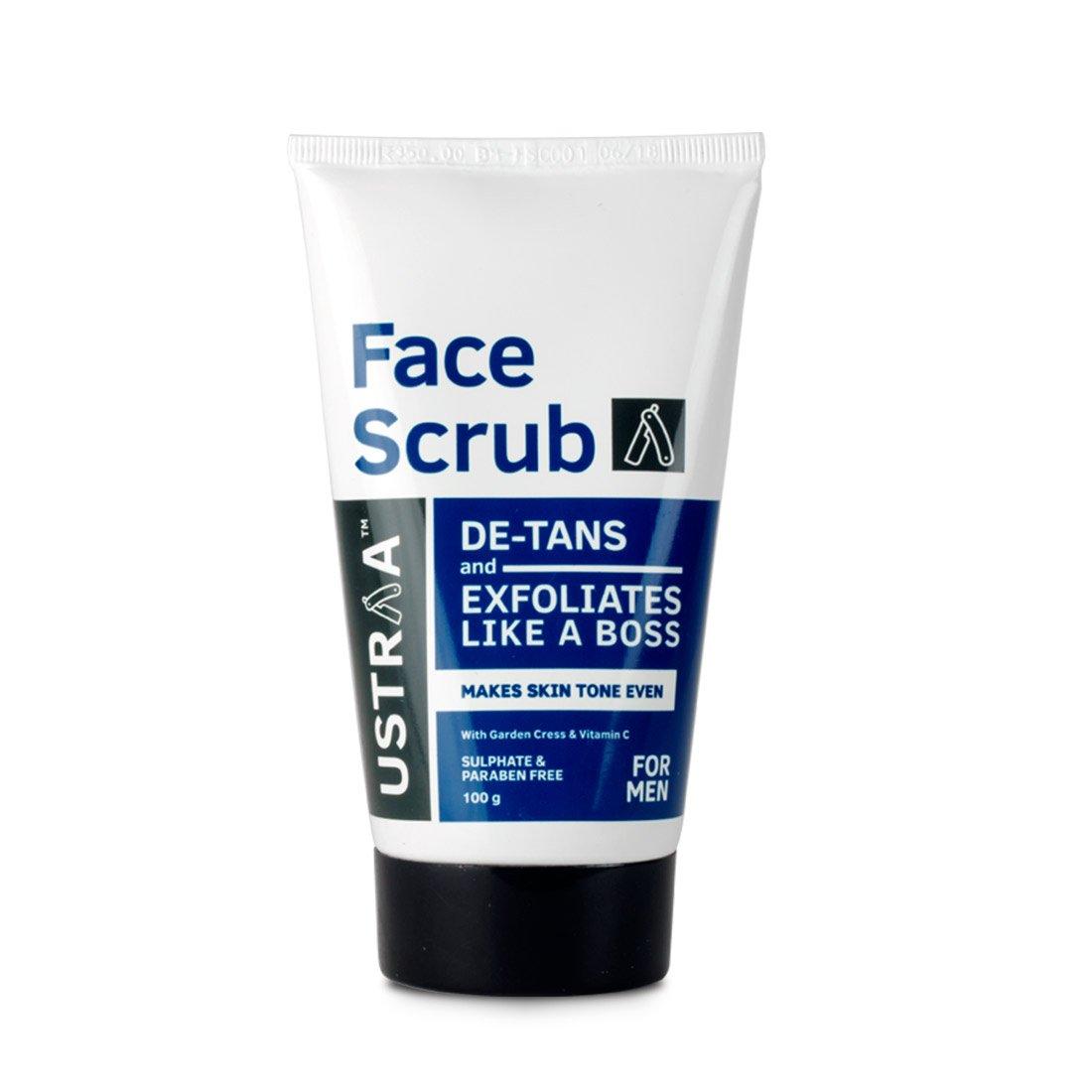 Ustraa Face Scrub 100g, De-tans and Exfoliates