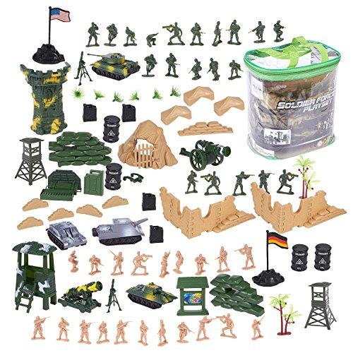 Soldier Miniature (100 Piece Military Figures and Accessories - Toy Army Soldiers in 2 Colors, War Soldiers Playset with 2 Flags and Battlefield Accessories)
