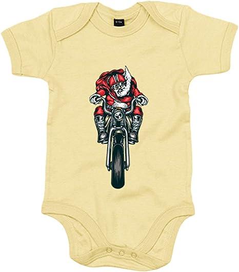 Body bebé motero Papa Noel - Amarillo, 6-12 meses: Amazon.es: Bebé