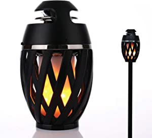 Gabba Goods Premium Bluetooth 4.2 Wireless Portable Outdoor Atmosphere LED Flicker Flame Speaker with Tiki Torch Pole