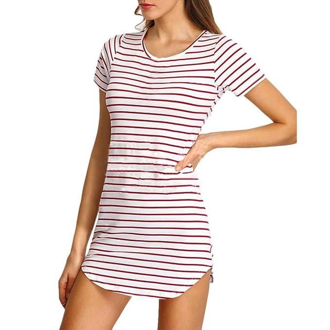 Elecenty Damen Hemdkleid T-Shirt Blusekleid T-Shirtkleid Sommerkleid Kleider  Frauen Rundhals Kurzarm Mode