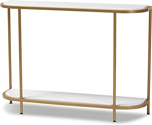 Baxton Studio Console Table, White gold