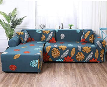 WOMACO L Shape Couch Cover, Printed Sectional Sofa Slipcover 2pcs Couch  Protector Covers for 2-Piece Sectional Couch - Pattern #20, S L-Shape Sofa
