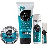 All Good Mineral Sun Care Set - SPF Lip Balm, Sunscreen Lotion & Butter Stick, & Face/Nose/Ear Sunstick - Water…