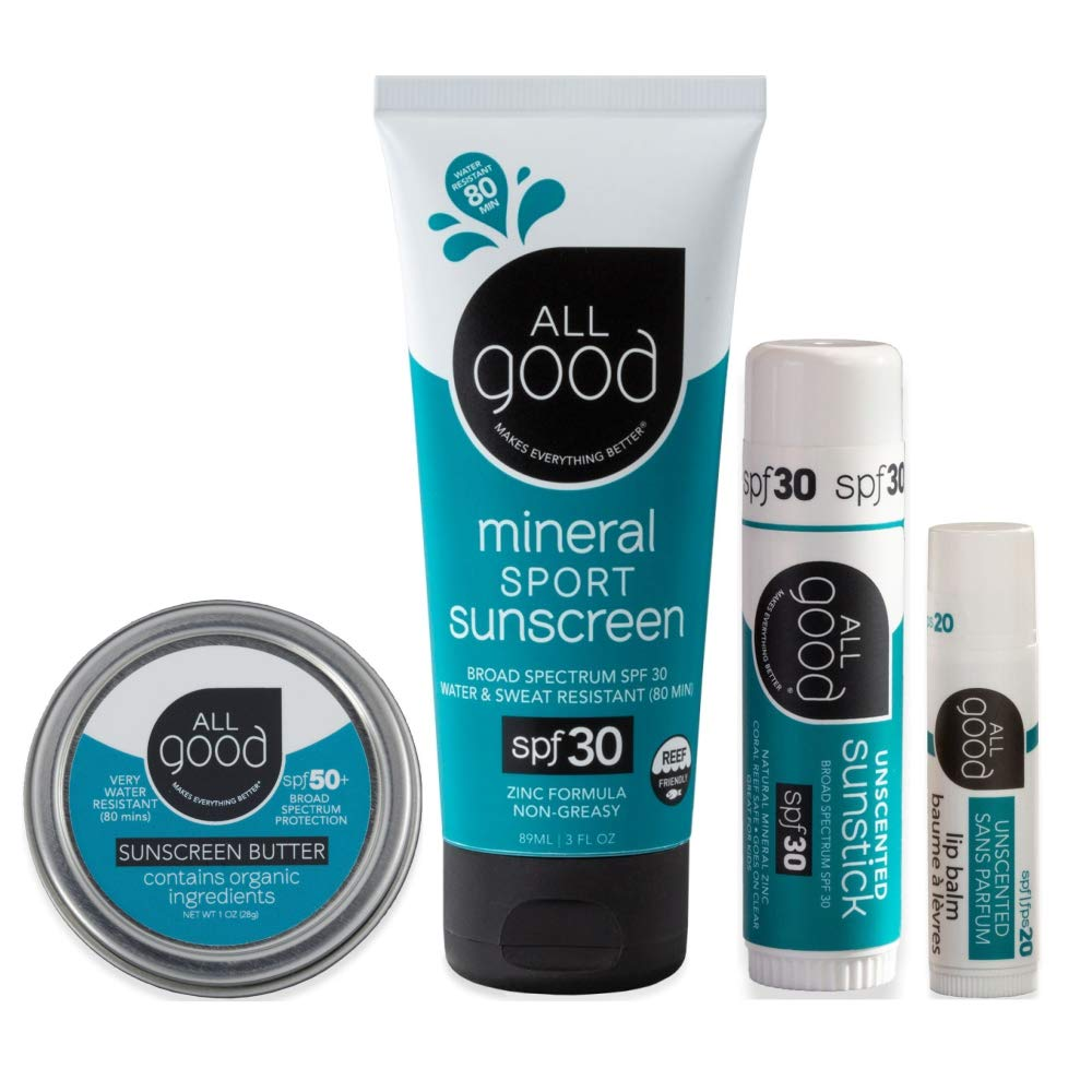All Good Mineral Sun Care Set - SPF Lip Balm, Sunscreen Lotion & Butter Stick, & Face/Nose/Ear Sunstick - Water Resistant & Coral Reef Safe (Unscented)