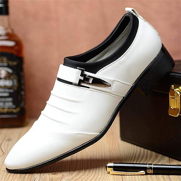 Zapatos Hombre Vestir Oxford Derby Traje Casual Fiesta Punta Boda Cuero Comodos Casuales Negocios Formales Moda Calzado Blanco Negros Marron 38-48: ...