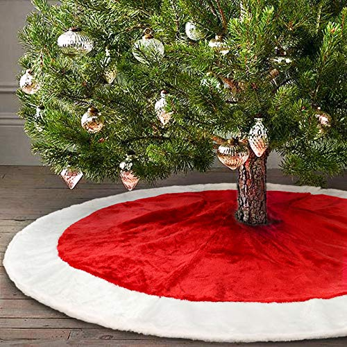 Ivenf 48 Plush Mercerized Velvet Large Christmas Tree Skirt Christmas Party Decoration