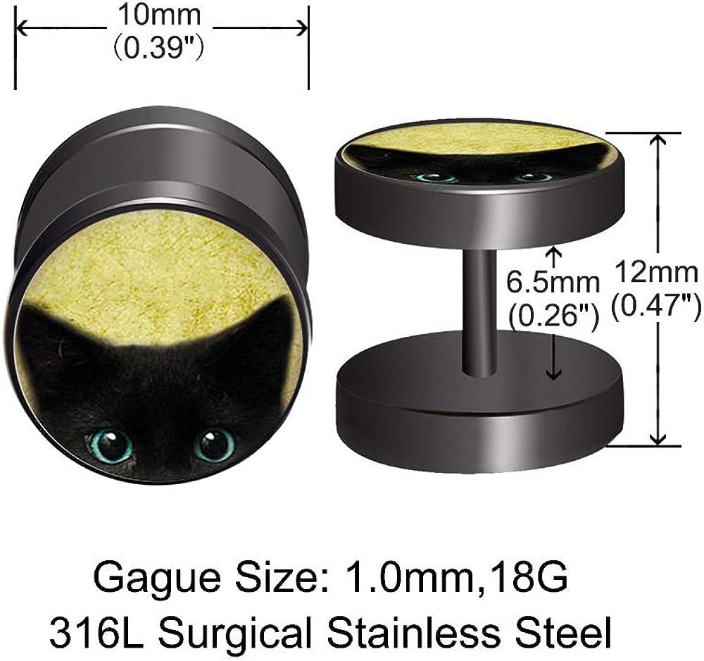 FLYUN 4 Pairs 10MM Anime Black Screw Stud Earrings for Men Women Steel Cheater Fake Ear Plugs Gauges Illusion Tunnel