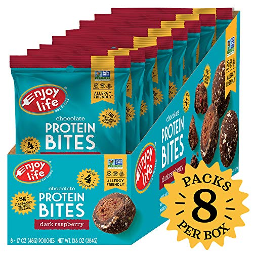 Enjoy Life Vegan & Allergy Friendly Grab & Go Protein Bites, Dark Raspberry, 8 Count, 1.7 Ounce
