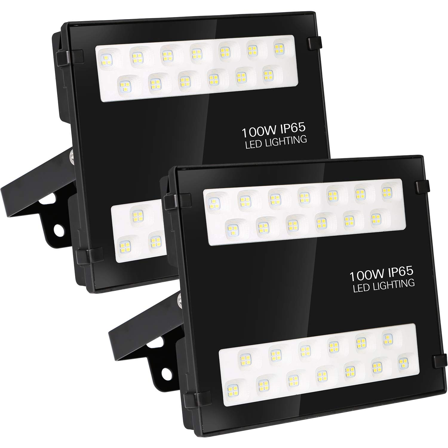 Hykolity 100W LED Security Flood Light,10000lm Outdoor Commercial LED Area Light, Weatherproof Parking Lot Lighting Fixture,5000K Daylight [250W MH Equivalent] - 2 Pack by hykolity