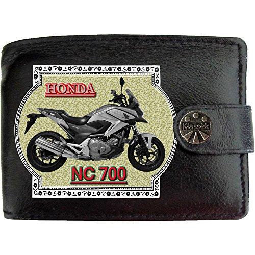 HONDA NC700 Silber Motorrad Zubehör Bike Klassek Herren Geldbörse Portemonnaie Brieftasche aus echtem Leder schwarz Dy1dtN3XM
