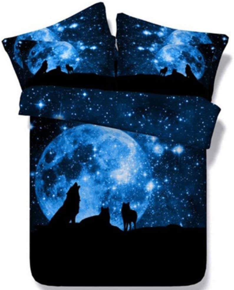Feelyou Wolf Duvet Cover Set for Kids Boys 3D Print Galaxy Bedding Set Twin Size Decorative Blue Moonlight Stars Microfiber Polyester Comforter Cover with 2 Pillow Shams, Zipper, 3 Pieces