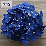 Lily Garden Silk Hydrangea Heads Artificial Flowers (12, Navy)