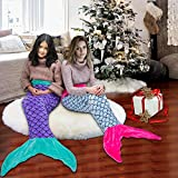 RIBANDS HOME Mermaid Tail Blanket for Kids, Flannel