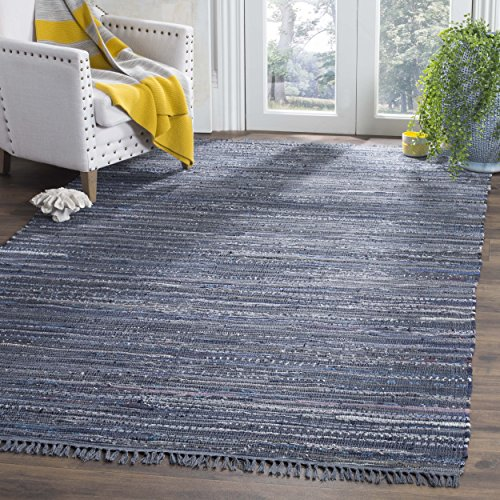 Safavieh Rag Rug Collection RAR121C Hand Woven Ink and Multi Cotton Area Rug (6' x 9')