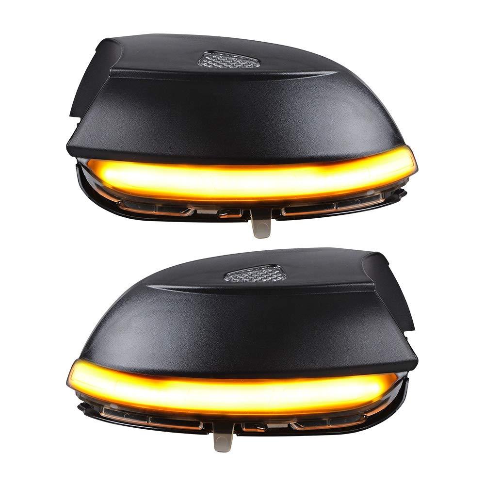 Dynamic LED Indicator Turn Lights Signal Side Mirror Housing Compatible with VW Passat B7 CC Jetta MK6 Amber Smoke Lens