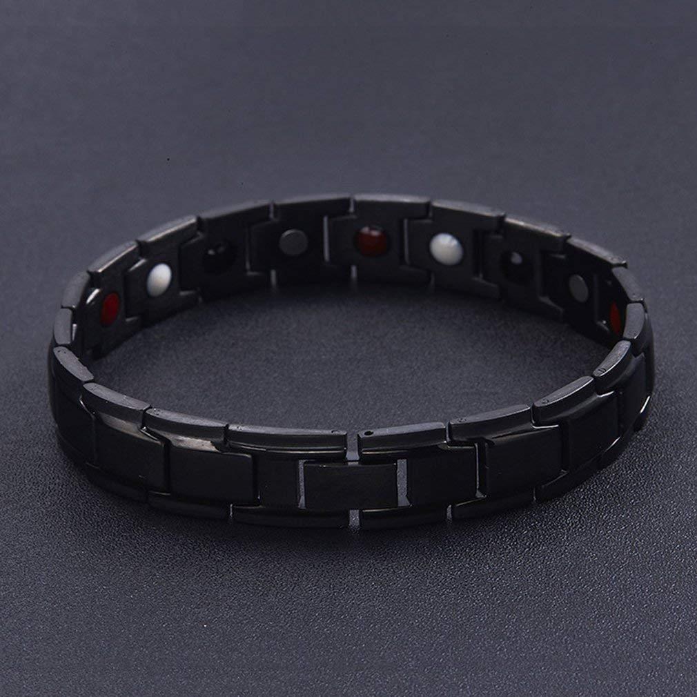 DERNON Men Women Fashion Titanium Magnetic Therapy Bracelet Two Tone Adjustable Black
