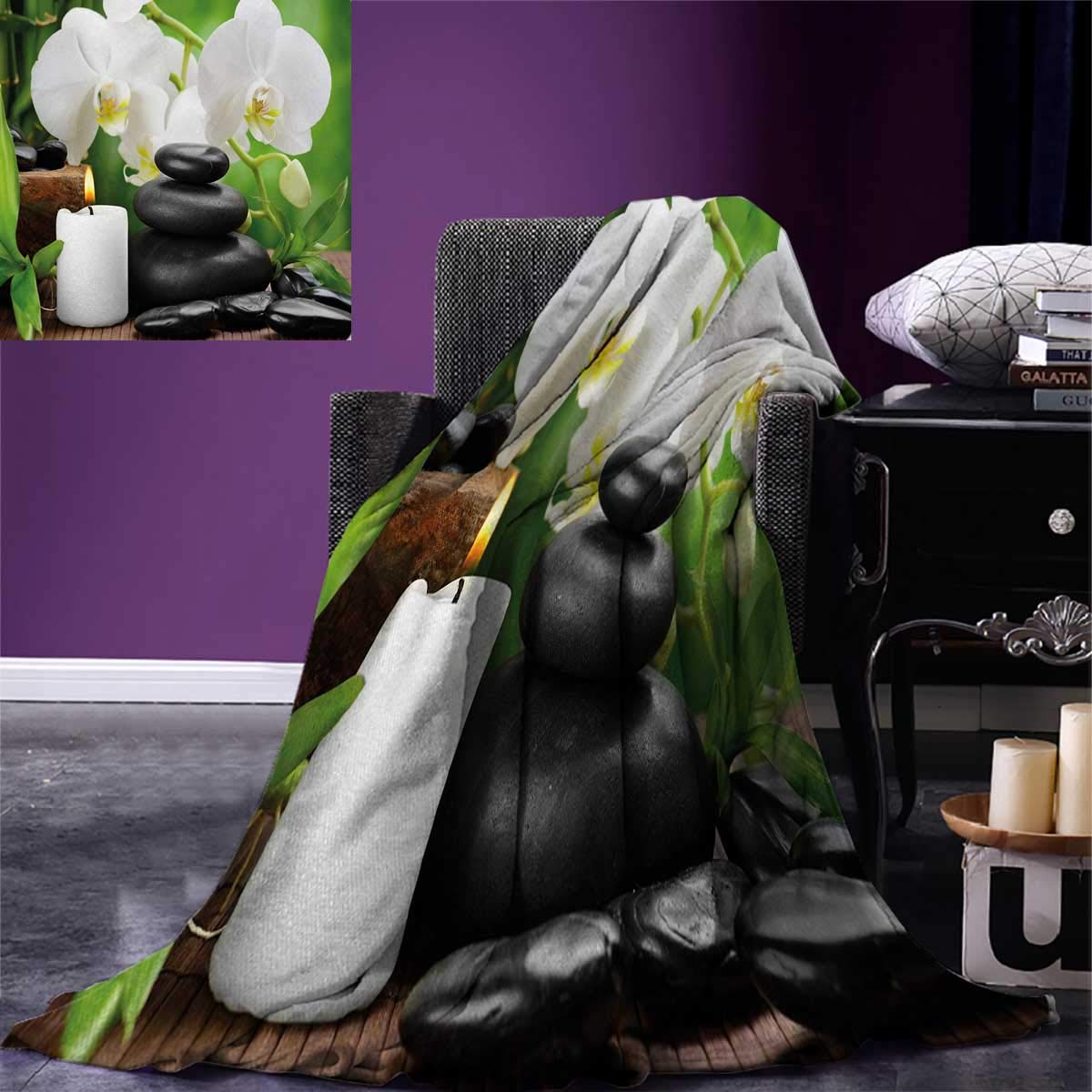 Spa Digital Printing Blanket Zen Hot Massage Stones with Orchid Candles and Magnificent Nature Remedies Summer Quilt Comforter 80''x60'' Black White and Green by  (Image #1)