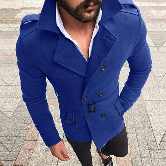 Abrigo de los Hombres, ♚ Absolute Otoño Invierno Slim Fit Traje de Manga Larga Top cinturón Chaqueta Trinchera Outwear: Amazon.es: Ropa y accesorios