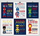 African American Christian Superhero Nursery Wall Art Set of 6 Prints- Christian Wall Art Print - Captain America, Ironman, Hulk, Batman, Wolverine, Spiderman - Multiple Sizes