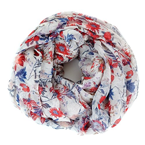 ightweight Cute Bird Floral Fashion shawl by MIMOSITO (White Red Blue Spring) (White Floral Scarf)