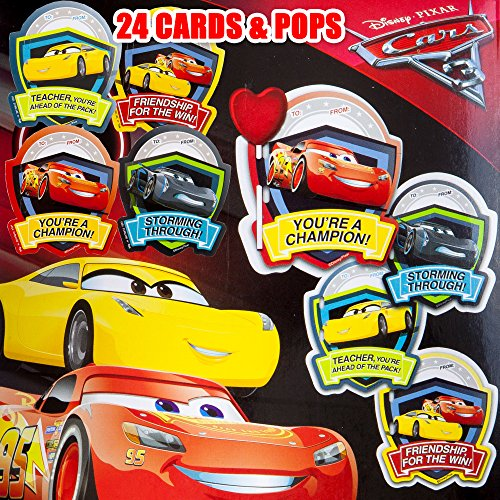 Valentines Day Classroom Exchange Gift | Disney Pixar Cars 3 Lightning McQueen Cruz Storm | 24 Valentine Cards & 24 Lollipops Candy | Kids DIY DayCare Sunday School Homeschool Art Projects Parties