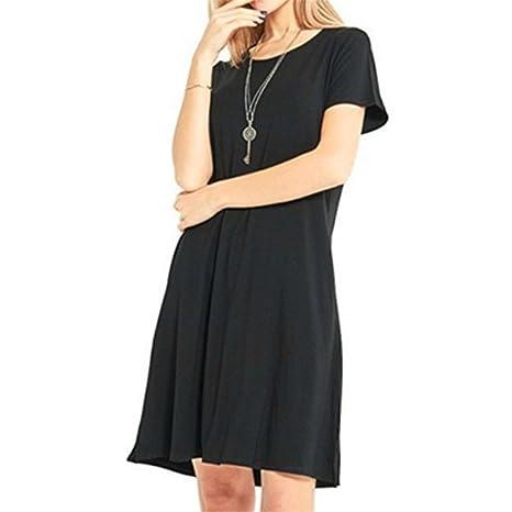 HUAYIN Vestidos Casuales Cortos Verano, Vestidos Holgados De Talla Grande Mujer Camiseta Color SóLido con Cuello Redondo: Amazon.es: Ropa y accesorios