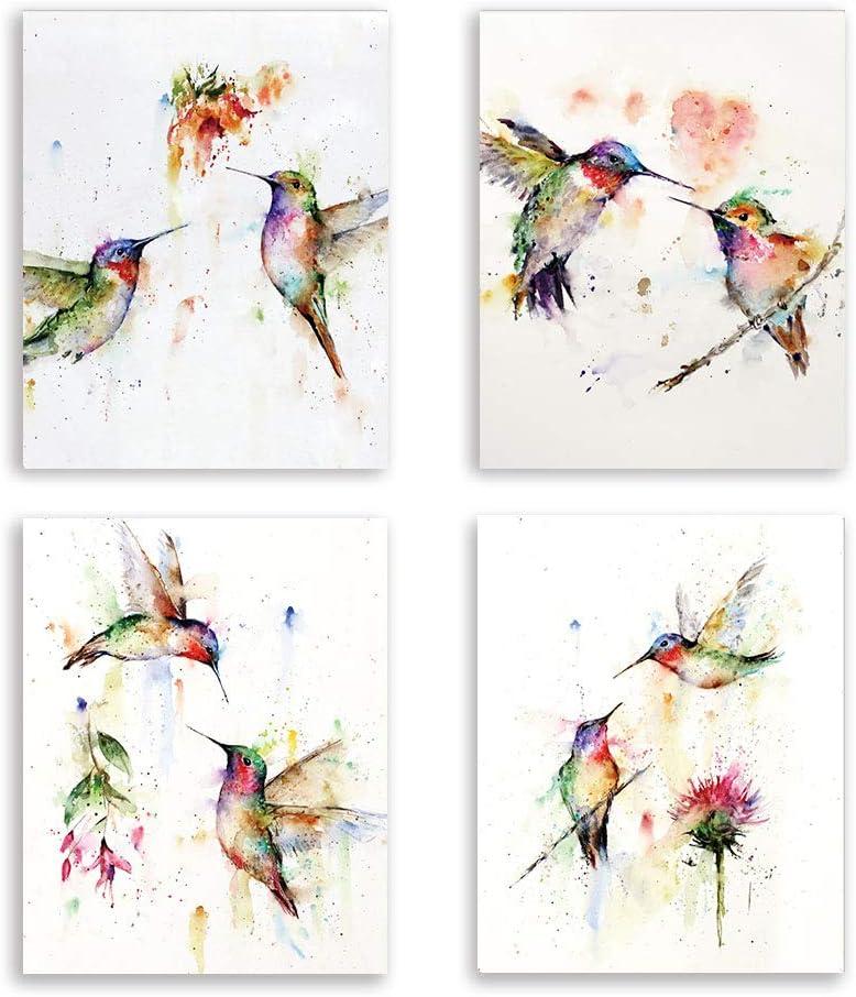 Cuadros de Pared de Pájaros Abstractos, Colibríes de Acuarela y Flores, Póster de Arte, Pared de Naturaleza Para Sala de Estar/Dormitorio/Oficina Decoración, Juego de 4 (8