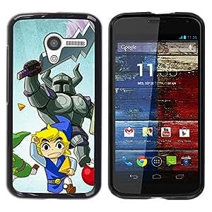 A-type Arte & diseño plástico duro Fundas Cover Cubre Hard Case Cover para Motorola Moto X 1 1st GEN I (Cartoon Guerrero)
