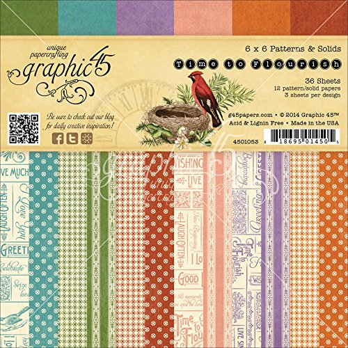 Graphic 45 Time to Flourish Patterns and Solids Print for Scrapbooking, 6 by 6-Inch - Flourish Collection