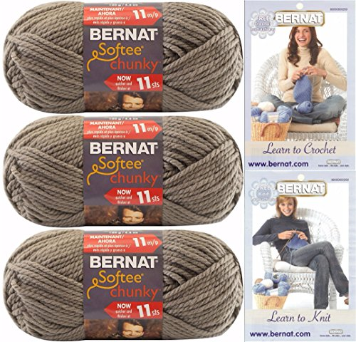 Bernat Softee Chunky Yarn Bundle Super Bulky #6, 3 Skeins, T