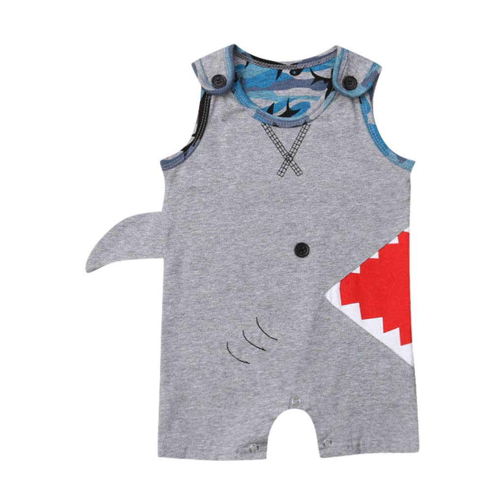 NUWFOR Newborn Baby Boy Infant Kid 3D Cartoon Shark Printed Romper Costume Bodysuit (Gray,0-6 Months)