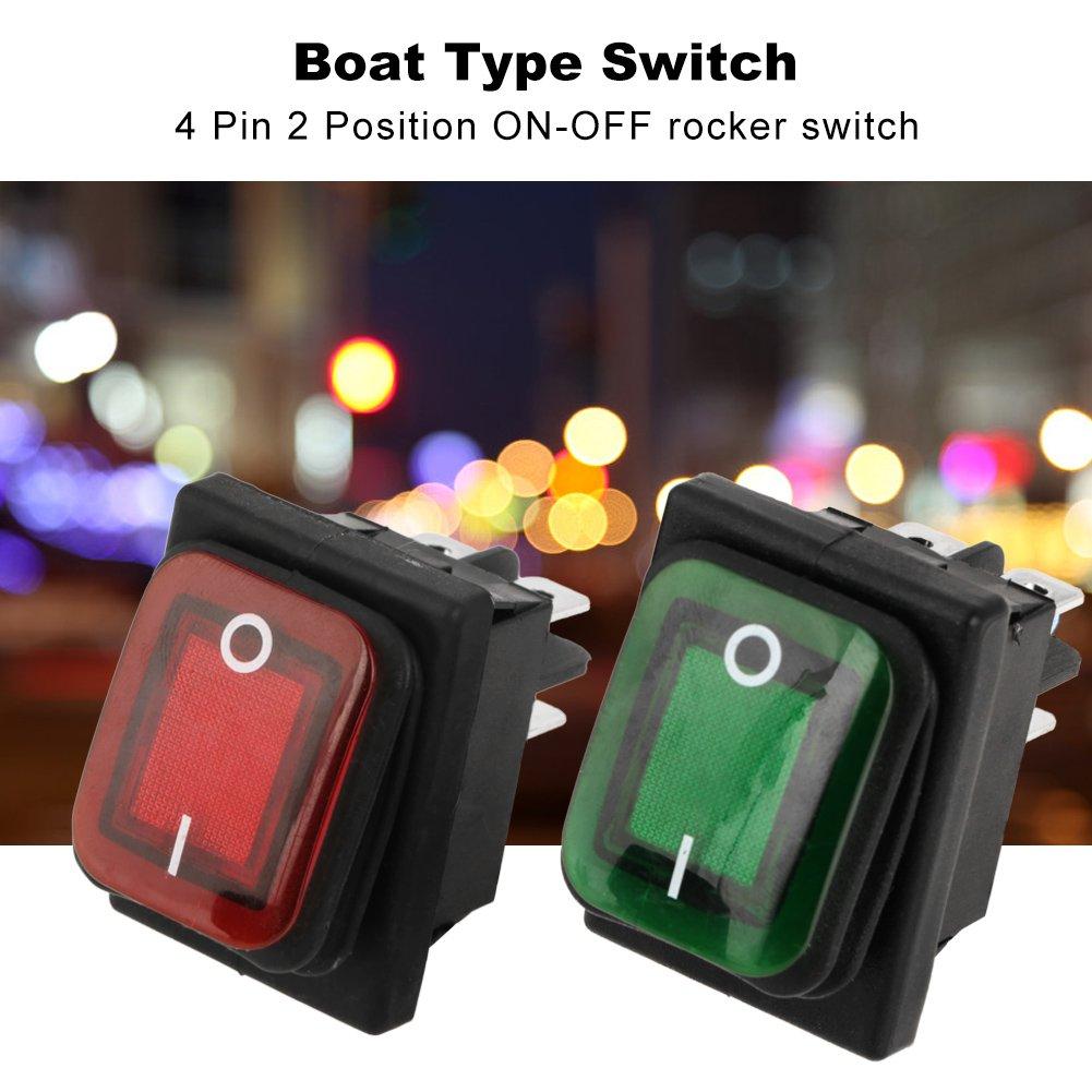 encendido//apagado 2 posiciones color rojo y verde Juego de 4 interruptores basculantes impermeables de 4 pines