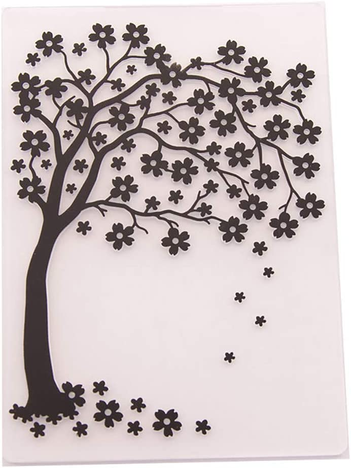 KWELLAM Flower Cherry Tree Plastic Embossing Folders for Card Making Scrapbooking and Other Paper Crafts,10.5x14.8cm
