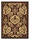 3-feet X 5-feet Non-Skid Rubber Backed Area Rug | BROWN - IVORY FLORAL Modern Rectangle Rugs 3X5