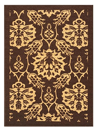 3-feet X 5-feet Non-Skid Rubber Backed Area Rug | BROWN - IVORY FLORAL Modern Rectangle Rugs 3X5 by Qute Home (Image #6)
